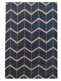 Hand Knotted Wool Area Rug Geometric Blue Beige