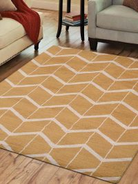 Hand Knotted Wool Area Rug Geometric Gold Beige