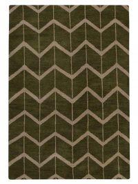 Hand Knotted Wool Area Rug Geometric Green Beige
