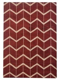 Hand Knotted Wool Area Rug Geometric Red Beige