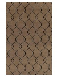 Hand Knotted Wool Area Rug Geometric Beige Black
