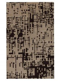 Hand Knotted Wool Area Rug Contemporary Beige Brown