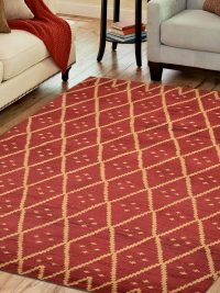Hand Knotted Wool Area Rug Geometric Red Gold