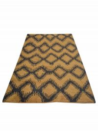 Hand Knotted Wool Area Rug Geometric Gold Charcoal