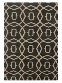 Hand Knotted Wool Area Rug Geometric Green Beige