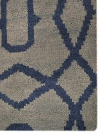 Hand Knotted Wool Area Rug Geometric Light Blue Blue