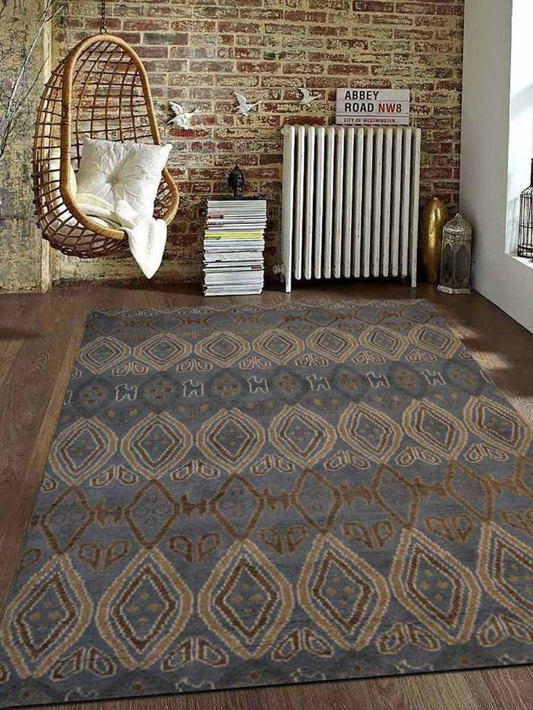 Hand Knotted Wool Area Rug Geometric Light Blue
