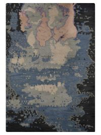 Hand Knotted Wool Area Rug Contemporary Multicolored