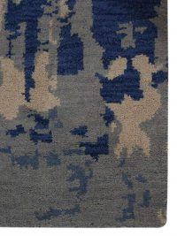 Hand Knotted Wool Area Rug Contemporary Blue Beige