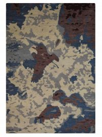 Hand Knotted Wool Area Rug Contemporary Multicolor