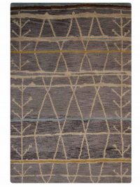 Hand Knotted Wool Area Rug Contemporary Brown