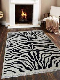 Hand Knotted Sumak Wool Area Rug Abstract White Black