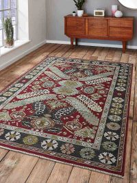 Hand Knotted Sumak Wool Area Rug Oriental Red Charcoal