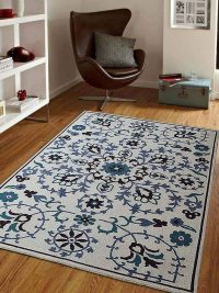 Hand Knotted Sumak Wool Area Rug Floral White