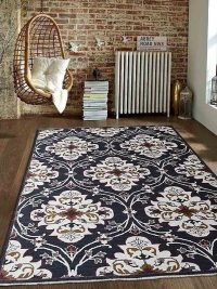 Hand Knotted Sumak Wool Area Rug Floral Black White