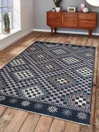Hand Knotted Sumak Wool Area Rug Geometric Multi