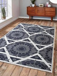 Hand Knotted Sumak Wool Area Rug Floral Gray Charcoal