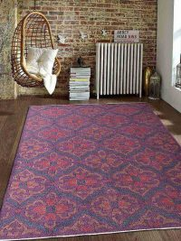 Hand Knotted Sumak Wool Area Rug Floral Purple