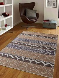 Hand Knotted Sumak Wool Area Rug Oriental Beige Brown