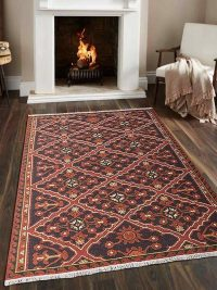 Hand Knotted Sumak Wool Area Rug Oriental Brown Rust
