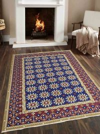 Hand Knotted Sumak Wool Area Rug Oriental Blue Rust