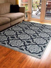Hand Knotted Sumak Wool Area Rug Geometric White Charcoal