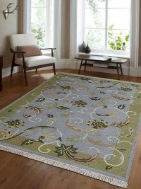 Hand Knotted Sumak Wool Area Rug Floral Light Blue Green