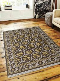 Hand Knotted Sumak Wool Area Rug Oriental Brown Gold