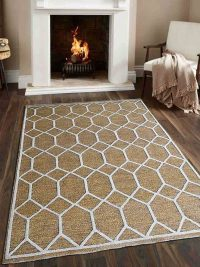 Hand Knotted Sumak Silk And Wool Area Rug Geometric Gold White