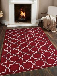Hand Knotted Sumak Silk And Wool Area Rug Geometric Red White