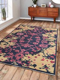 Hand Knotted Sumak Silk And Wool Area Rug Floral Multi