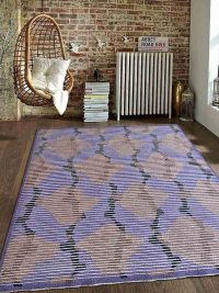 Hand Knotted Sumak Silk And Wool Area Rug Abstract Multi