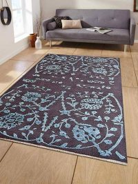 Hand Knotted Sumak Silk And Wool Area Rug Floral Charcoal
