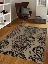 Hand Tufted Wool Area Rug Floral Cream Brown