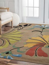 Hand Tufted Wool Area Rug Floral Camel