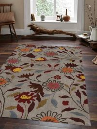 Hand Tufted Wool Area Rug Floral Blue