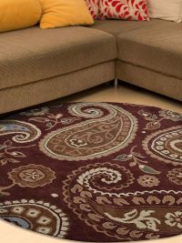 Hand Tufted Wool Round Floral Brown