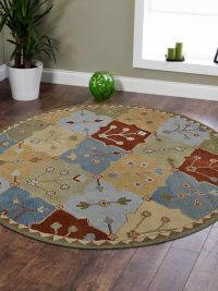 Hand Tufted Wool Round Rug Floral Multicolor