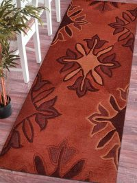 Hand Tufted Wool Runner Area Rug Floral Rot