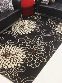 Hand Tufted Wool Area Rug Floral Black