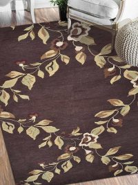 Hand Tufted Wool Area Rug Floral Brown