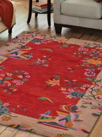 Hand Tufted Wool Area Rug Oriental Red Camel