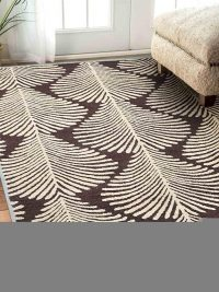 Hand Tufted Wool Area Rug Floral Brown Beige
