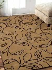 Hand Tufted Wool Area Rug Floral Beige Brown