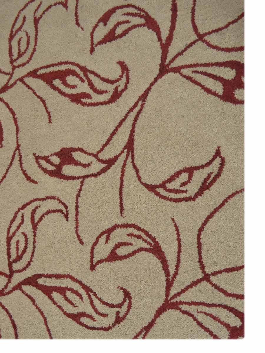 Hand Tufted Wool Area Rug Floral Cream Red