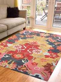Hand Tufted Wool Area Rug Floral Multi