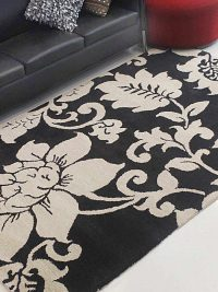 Hand Tufted Wool Area Rug Floral Black Cream