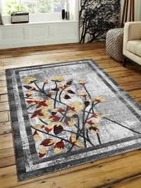 Machine Woven Polypropylene Area Rug Turkish Floral Silver