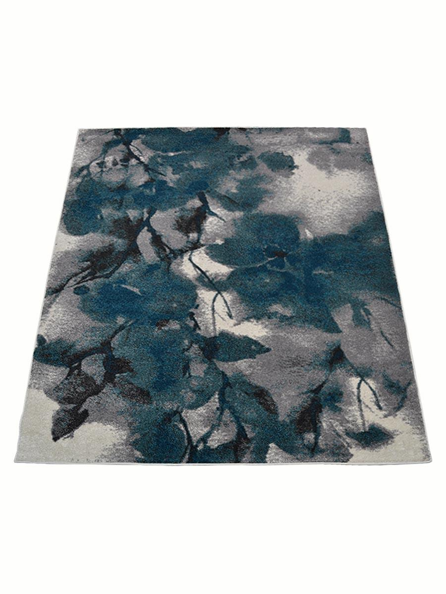 Machine Woven Polypropylene Area Rug Turkish Floral Ivory Blue