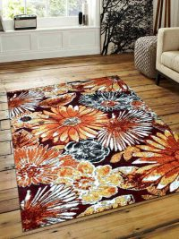 Machine Woven Polypropylene Area Rug Turkish Floral Beige Caramel
